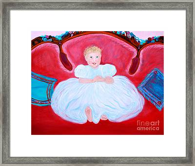 Framed Print featuring the painting Baby Girl. Inspirations Collection. by Oksana Semenchenko