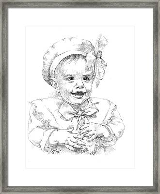 Baby Girl. Stippling. Commission. Framed Print