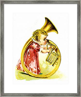 Baby Girl With A French Horn Framed Print by Vintage Trading Cards