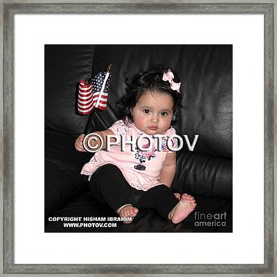 Baby Girl With An American Flag And Voting Sticker - Limited Edition Framed Print