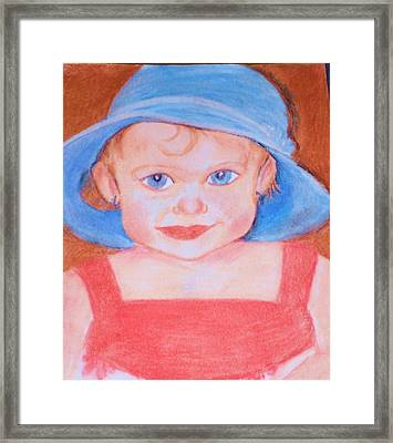 Framed Print featuring the pastel Baby In Blue Hat by Christy Saunders Church