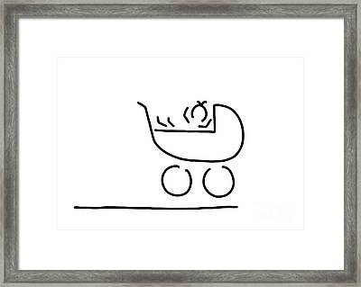 Baby In Buggy Framed Print by Lineamentum