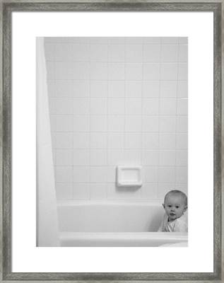 Baby In Tub Framed Print