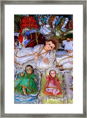 Baby Jesus Figures For Nativity Scenes Framed Print by James Brunker