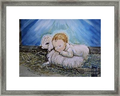 Baby Jesus Little Lamb Framed Print