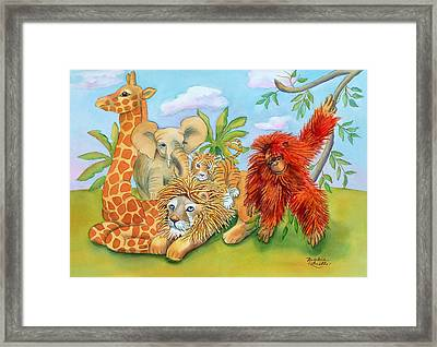 Baby Jungle Animals Framed Print