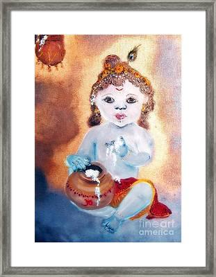Baby Krishna Framed Print by Ayasha Loya
