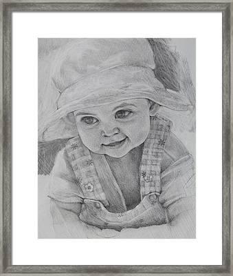 Framed Print featuring the drawing Baby Meg by Jani Freimann