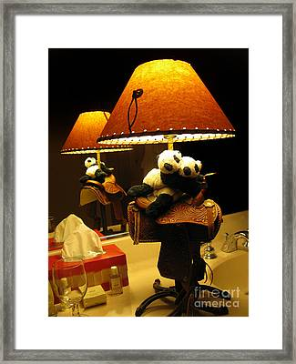 Baby Pandas In A Saddle  Framed Print