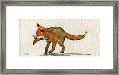 Baby Red Fox Playing Framed Print by Juan  Bosco