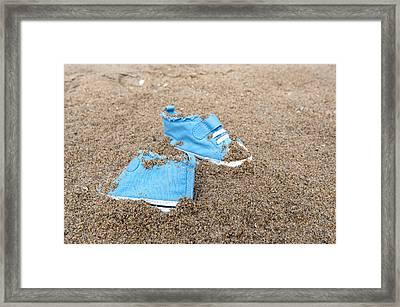 Baby Shoes On Beach Framed Print by Joe Belanger