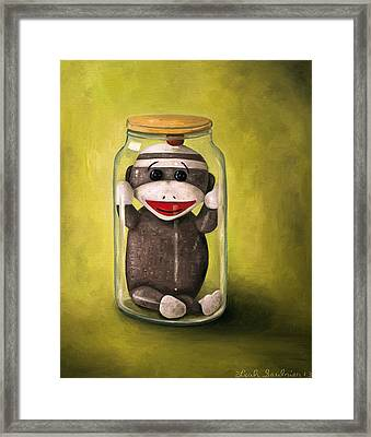 Baby Sock Monkey  Preserving Childhood 5 Framed Print by Leah Saulnier The Painting Maniac