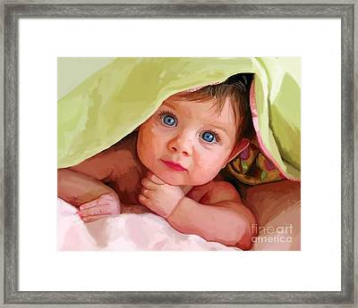 Framed Print featuring the painting Baby Under Blanket by Tim Gilliland