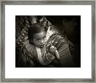 Baby With A Banana Framed Print by Tom Bell