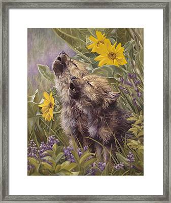Baby Wolves Howling Framed Print by Lucie Bilodeau