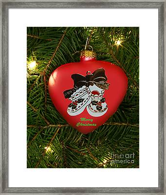 Baby's 1st Christmas Heart Ornament Framed Print by Linda Rae Cuthbertson