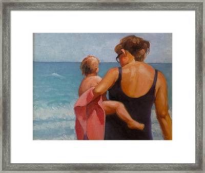 Baby's First Ocean Framed Print by Janet McGrath