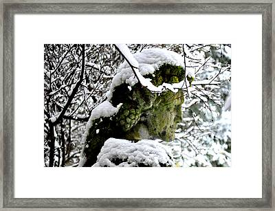 Bacchus Statue Under Snow Framed Print