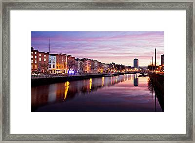 Framed Print featuring the photograph Bachelors Walk And River Liffey At Dawn - Dublin by Barry O Carroll