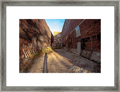 Framed Print featuring the photograph Back Alley Shadow by Kimberleigh Ladd