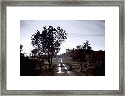 Back Country Road And Then The Rain Came Framed Print