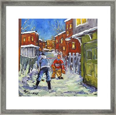 Back Lane Hockey Shoot Out By Prankearts Framed Print