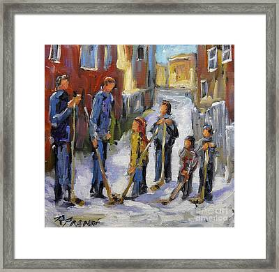 Back Lane Hockey The Stand Off By Prankearts Framed Print by Richard T Pranke