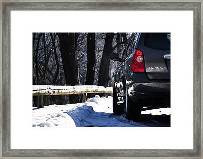 Back Left Side Of Mazda Tribute On The Mountain Road Framed Print by Newnow Photography By Vera Cepic
