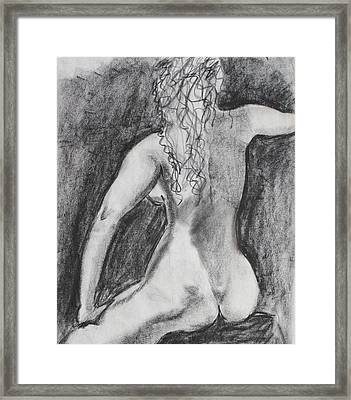 Back Of A Seated Woman Framed Print by Asha Carolyn Young