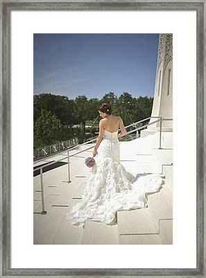 Back Of Bride At Baha'i Temple Framed Print by Mike Hope