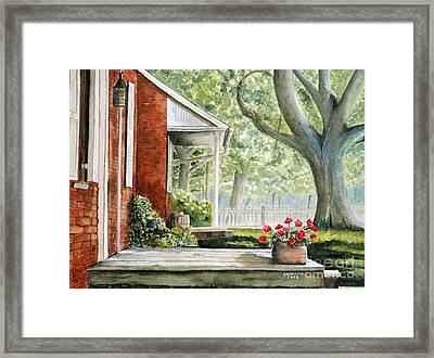 Back Porch Geraniums Framed Print