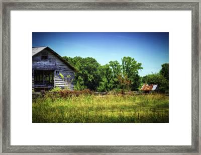 Back Road Barns Framed Print by Barry Jones