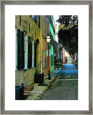 Framed Print featuring the photograph Back Street In Charleston by Rodney Lee Williams