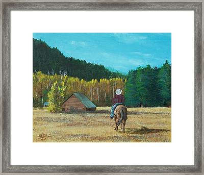 Back To The Barn Framed Print by Gene Ritchhart