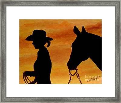 Framed Print featuring the painting Back To The Barn by Julie Brugh Riffey