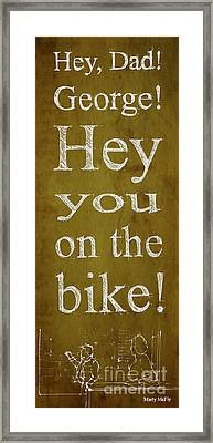 Back To The Future. Hey Dad George Hey You On The Bike Framed Print by Pablo Franchi