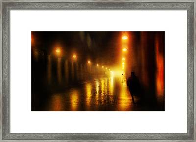 Back To The Past. Alley Of Light Framed Print by Jenny Rainbow