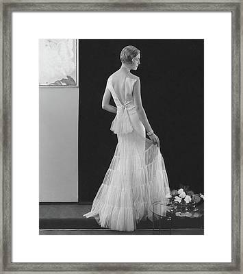 Back View Of A Model Wearing An Evening Gown Framed Print by Edward Steichen