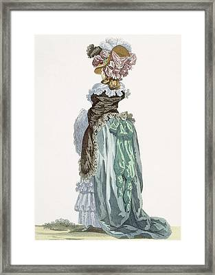 Back View Of A Promenade Gown, Engraved Framed Print by Francois Louis Joseph Watteau