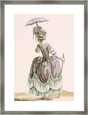 Back View Of Ladys Grey Promenade Framed Print
