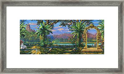 Backdrop For Three Altars Framed Print by Vrindavan Das