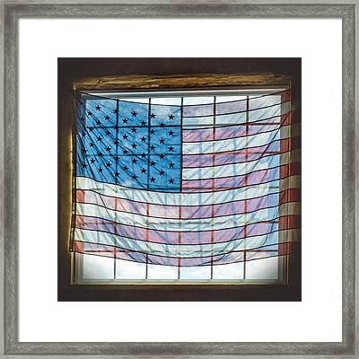 Backlit American Flag Framed Print