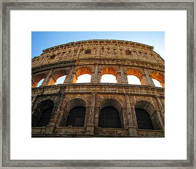 Framed Print featuring the photograph Backlit  Colosseum by Joe Winkler