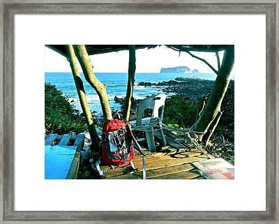 Backpack On The Edge Framed Print by Yen