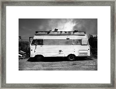 Backroads Americana Abandoned Recreational Vehicle Rv 5d22705 Black And White Framed Print by Wingsdomain Art and Photography