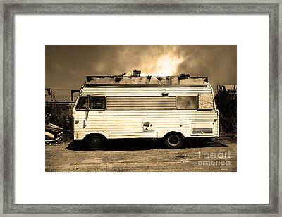 Backroads Americana Abandoned Recreational Vehicle Rv 5d22705 Sepia Framed Print by Wingsdomain Art and Photography