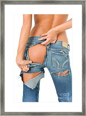 Backside Of A Sexy Girl In Torn Blue Jeans  Framed Print