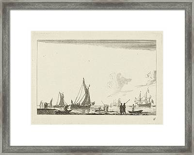 Backwater With Several Sailing Ships, Anonymous Framed Print
