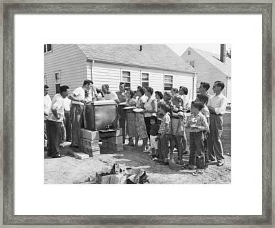 Backyard Clambake Framed Print by Underwood Archives