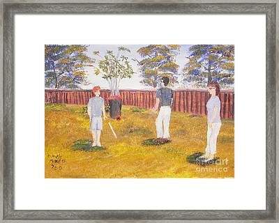 Framed Print featuring the painting Backyard Cricket Under The Hot Australian Sun by Pamela  Meredith